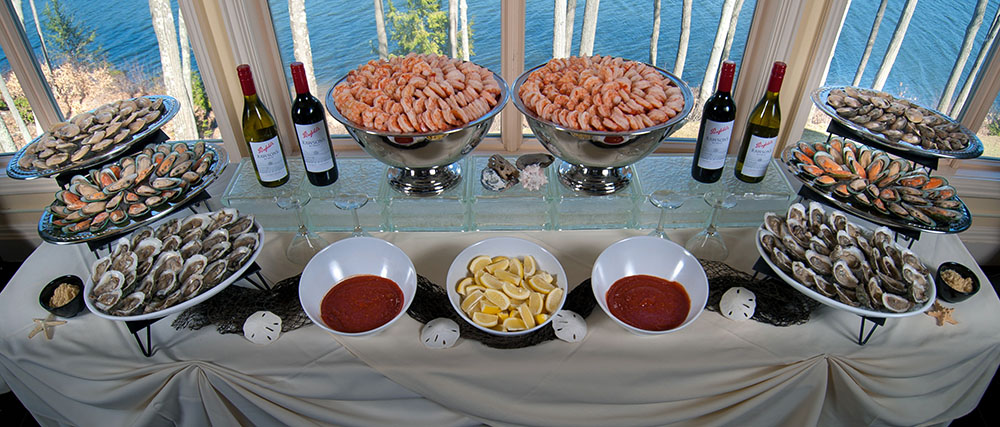 Seafood raw bar the waterview for Food bar catering